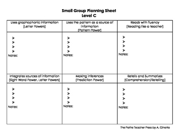 Level C Guided Reading Group Planning