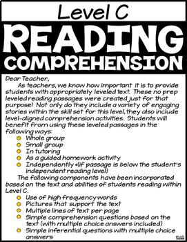 Level C Reading Comprehension Passages