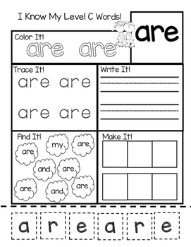 Level C Sight Word Practice Sheets