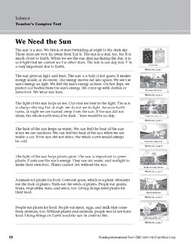 Level C: We Need the Sun (Reading Informational Text)