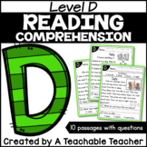 Level D Reading Comprehension Passages and Questions