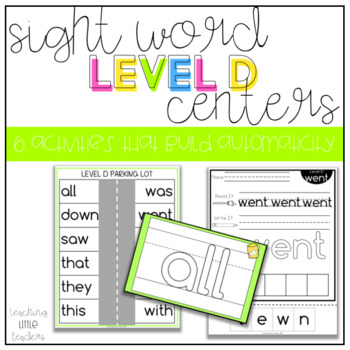Level D Sight Word Centers