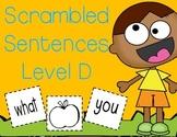 Level D Sight Word Making Sentences
