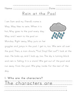 Level E emergent reader text with questions