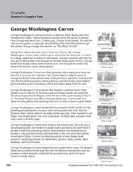 Level F: George Washington Carver (Reading Informational Text)