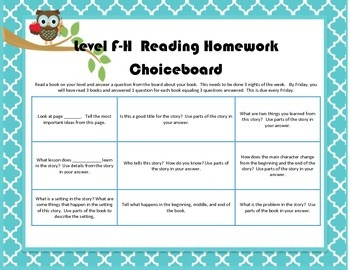 Level F-H Reading Choiceboard