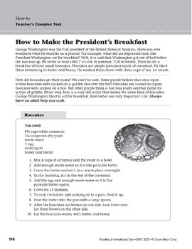 Level F: How to Make the President's Breakfast (Reading Informational Text)