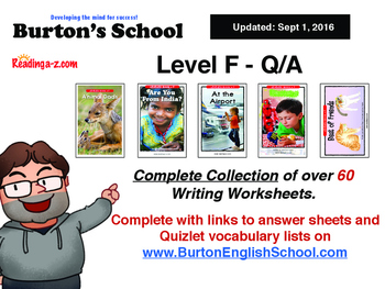 Level F Worksheets For A to Z Readers RAZ