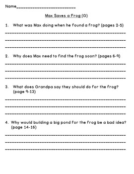 Level G Guided Reading Questions (for Rigby PM Readers)
