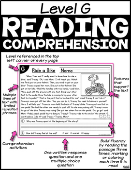 Level G Reading Comprehension Passages