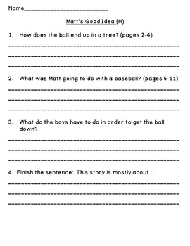 Level H Guided Reading Questions (for Rigby PM Readers)