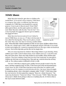Level I: TOMS Shoes (Reading Informational Text)