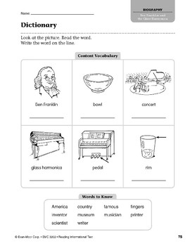 Level J: Ben Franklin and the Glass Harmonica (Reading Informational Text)