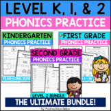 Level K, 1, & 2 Phonics Practice Packs - The Ultimate Bundle