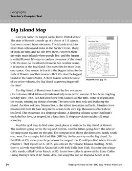 Level K: Big Island Map (Reading Informational Text)