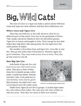 Level L: Big, Wild Cats! (Reading Informational Text)
