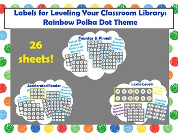 Level Labels for Organizing Book Baskets for Reader's Workshop: Rainbow Dots 2