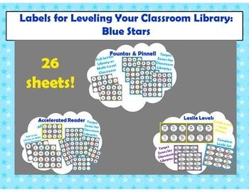 Level Labels for Organizing Book Baskets for Reader's Workshop: Blue Stars