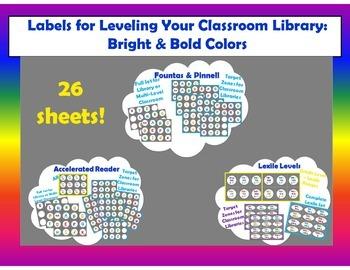 Level Labels for Organizing Book Baskets for Reader's Workshop: Bold Colors