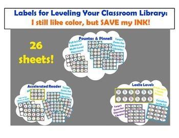 Level Labels for Organizing Book Baskets for Reader's Workshop: Color Save Ink