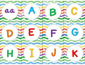 Level Labels for Organizing Book Baskets for Reader's Workshop: Rainbow Chevron