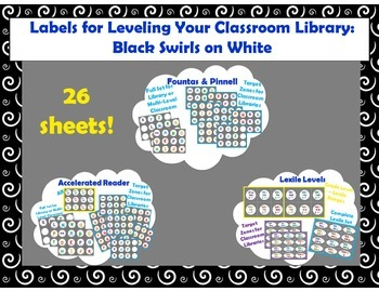 Level Labels for Organizing Book Baskets for Reader's Workshop: White Swirls