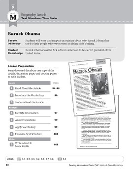 Level M: Barack Obama (Reading Informational Text)