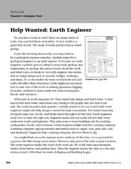 Level M: Help Wanted: Earth Engineer (Reading Informational Text)