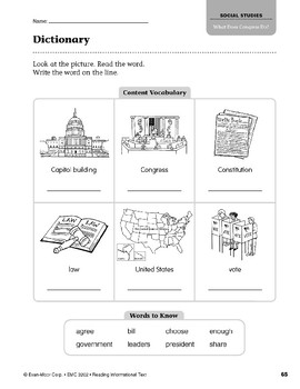 Level M: What Does Congress Do? (Reading Informational Text)