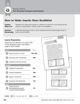 Level O: How to Make Snacks More Healthful (Reading Informational Text)