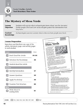 Level O: The Mystery of Mesa Verde (Reading Informational Text)