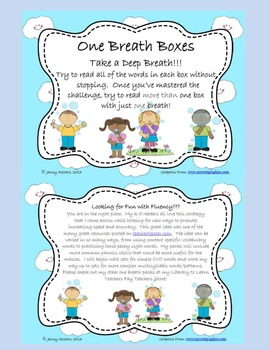 One Breath Boxes: Fluency and Decoding for Level 1 Trick Words
