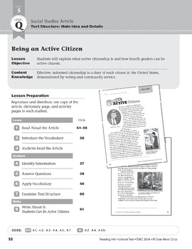 Level Q: Being an Active Citizen (Reading Informational Text)