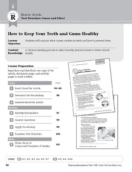Level R: How to Keep Your Teeth and Gums Healthy (Reading Informational Text)