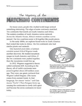 Level R: The Mystery of the Matching Continents (Reading Informational Text)