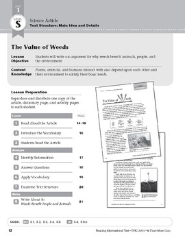 Level S: The Value of Weeds (Reading Informational Text)