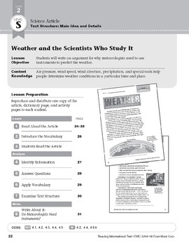 Level S: Weather and the Scientists Who Study It (Reading Informational Text)