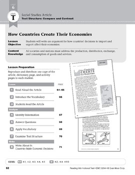 Level T: How Countries Create Their Economies (Reading Informational Text)