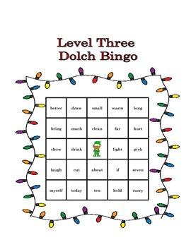 Level Three Dolch Christmas Bingo