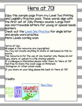 Level Two Printing and Legibility Practice Sample Page