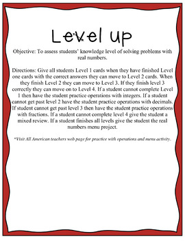 Real Number Operations: Level Up Assessment!
