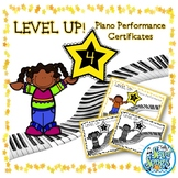 Level Up Piano Performance Award Certificates