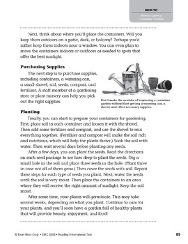 Level V: How to Grow a Container Garden (Reading Informational Text)