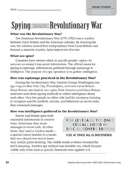 Level V: Spying During the Revolutionary War (Reading Informational Text)