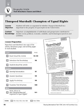Level V: Thurgood Marshall: Champion of Equal Rights