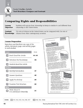 Level X: Comparing Rights and Responsibilities (Reading Informational Text)