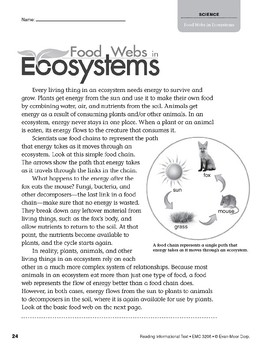 Level X: Food Webs in Ecosystems (Reading Informational Text)
