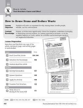 Level X: How to Reuse Items and Reduce Waste (Reading Informational Text)