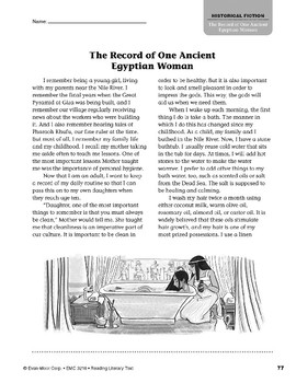 Level X: The Record of One Ancient Egyptian Woman (Reading Literary Text)
