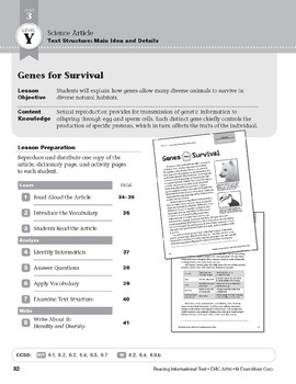 Level Y: Genes for Survival (Reading Informational Text)